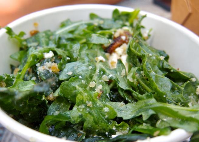 Cavolo Nero and Arugula Salad with Feta and Breadcrumbs